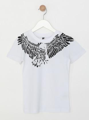 Crew neck -  - Unlined - White - Boys` T-Shirt