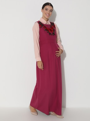 Fuchsia - Crew neck - Unlined - Maternity Dress