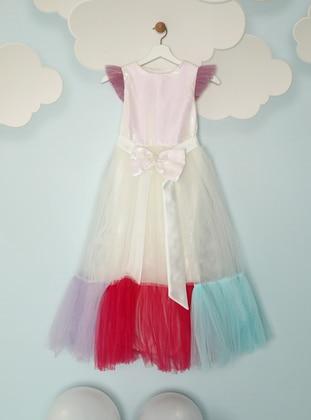 Crew neck - Fuchsia - Lilac - Mint - Girls` Dress