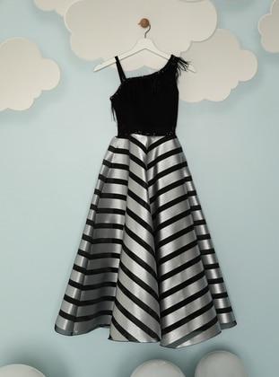 Stripe - Fully Lined - Silver tone - Girls` Dress
