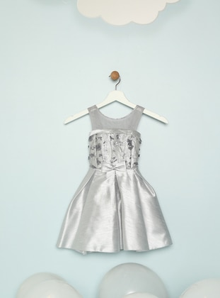 Crew neck - Silver tone - Girls` Dress