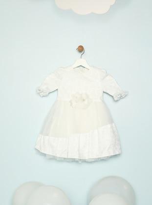 Crew neck - Fully Lined - White - Cream - Girls` Dress