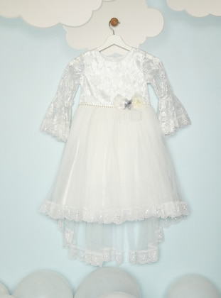 Crew neck - Fully Lined - White - Ecru - Cream - Girls` Dress
