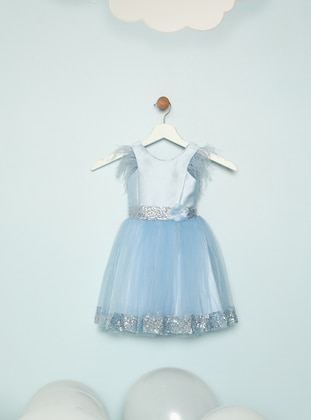 Crew neck - Blue - Girls` Dress