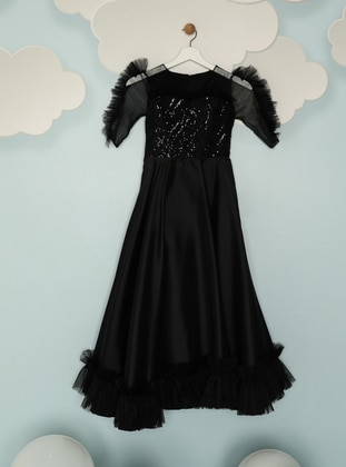 Crew neck - Fully Lined - Black - Girls` Dress