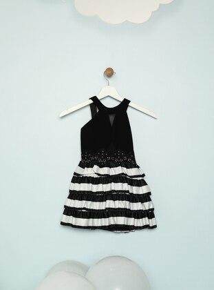 Stripe - Crew neck - Black - Girls` Dress