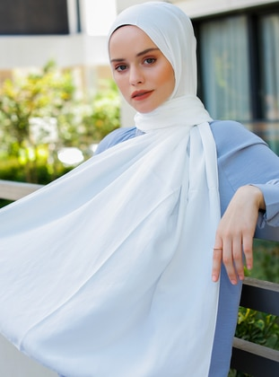 White - Plain - Viscose - Shawl - Şal Evi
