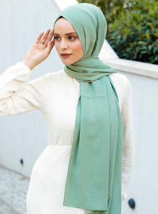 Green Almond - Green - Plain - Viscose - Shawl - Şal Evi