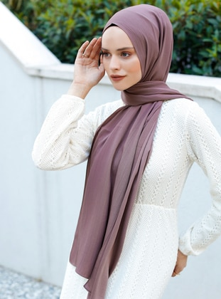 Brown - Caramel - Plain - Viscose - Shawl - Şal Evi