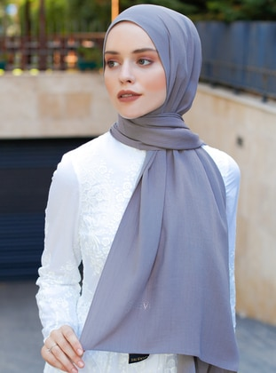 Gray - Plain - Viscose - Shawl - Şal Evi