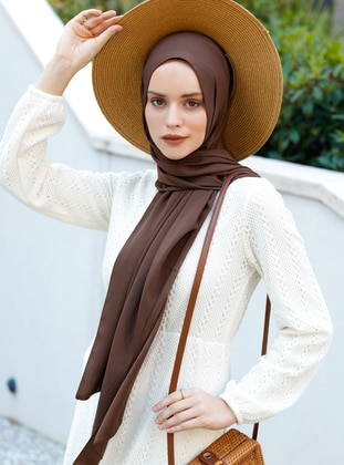 Brown - Plain - Viscose - Shawl - Şal Evi
