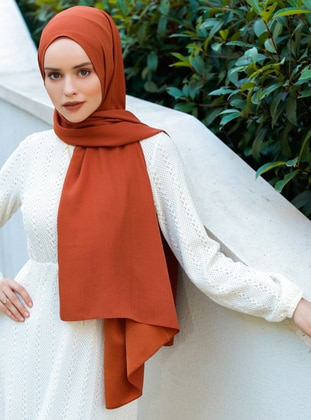 Terra Cotta - Plain - Viscose - Shawl - Şal Evi
