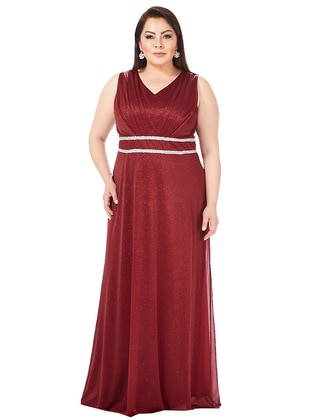 Maroon - Fully Lined - V neck Collar - Muslim Plus Size Evening Dress