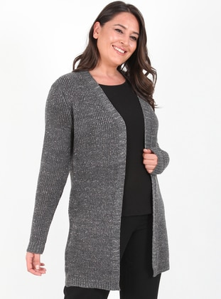 Anthracite - Unlined - Acrylic -  - Wool Blend - Knit Cardigans