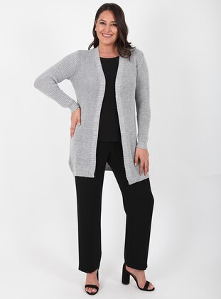 Gray - Unlined - Acrylic -  - Wool Blend - Knit Cardigans