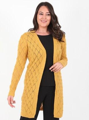 Mustard - Unlined - Acrylic -  - Wool Blend - Knit Cardigans