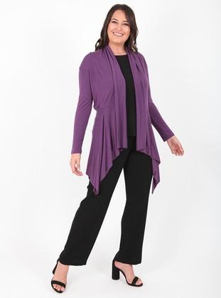 Plum - Unlined - Viscose - Wool Blend - Knit Cardigans
