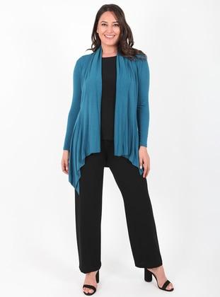 Petrol - Petrol - Unlined - Viscose - Wool Blend - Knit Cardigans
