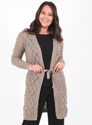 Mink - Unlined - Acrylic -  - Wool Blend - Knit Cardigans