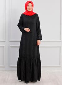 Black - Unlined - Crew neck - Crepe - Muslim Evening Dress