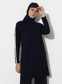 Navy Blue - Stripe - Crew neck - Viscose - Tunic