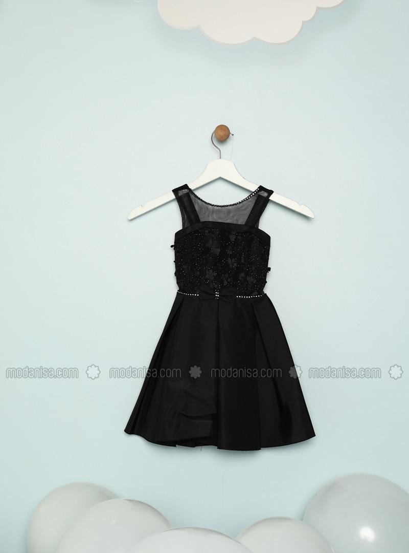 Crew neck - Black - Girls` Dress