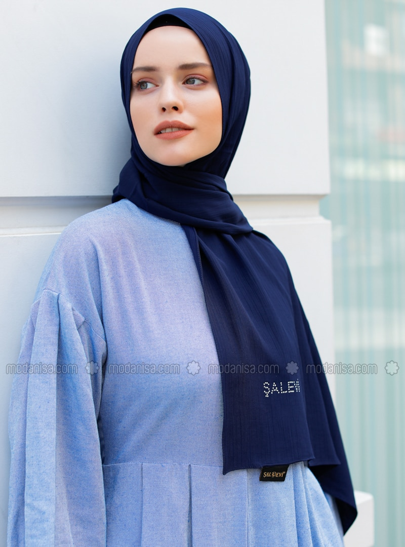 Navy Blue - Plain - Viscose - Shawl - Şal Evi
