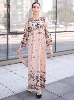 Beige - Multi - Crew neck - Fully Lined - Crepe - Dress