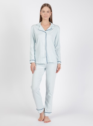 Blue - Shawl Collar - Pyjama Set