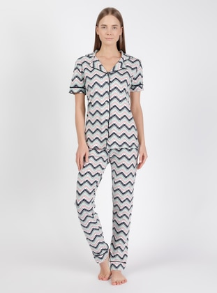 Black - Sea-green - Shawl Collar - Multi - Pyjama Set
