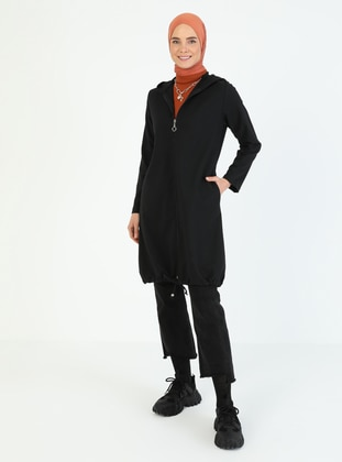 Black - Unlined - Crew neck - - Trench Coat