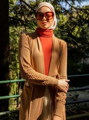 Camel - Unlined - Acrylic - - - Knit Cardigans - Demirler