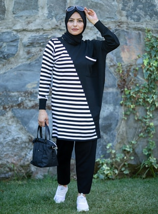 White - Black - Stripe - Unlined - Acrylic -  - Knit Suits