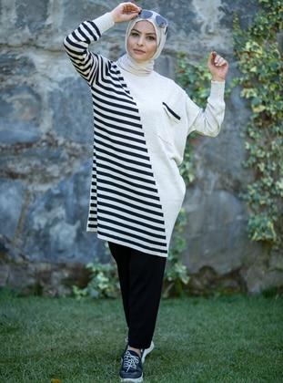 Black - Stone - Stripe - Unlined - Acrylic -  - Knit Suits