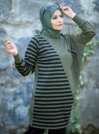Khaki - Black - Stripe - Unlined - Acrylic - - Knit Suits