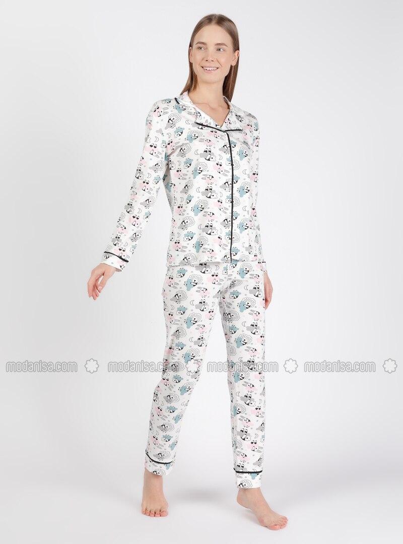 White - Blue - Shawl Collar - Multi - Pyjama Set