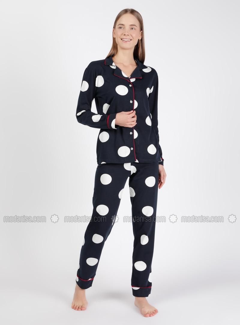 Black - Shawl Collar - Multi - Pyjama Set