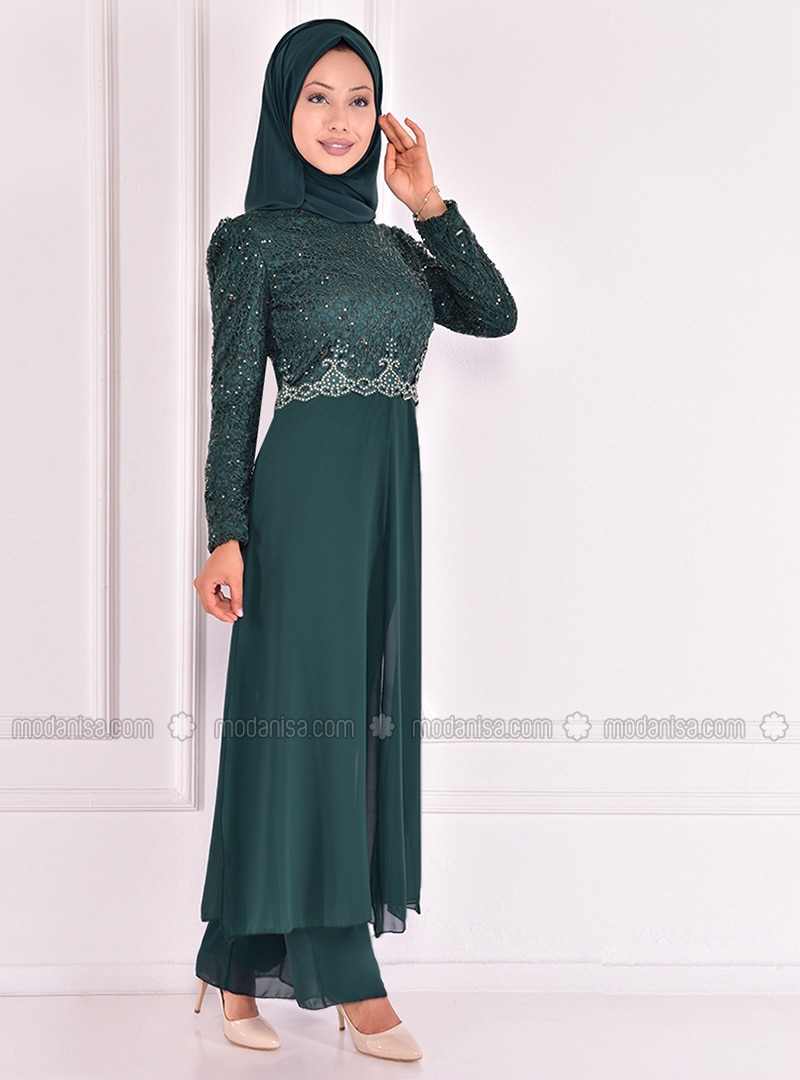 Fully Lined - Emerald - Crew neck - Evening Suit