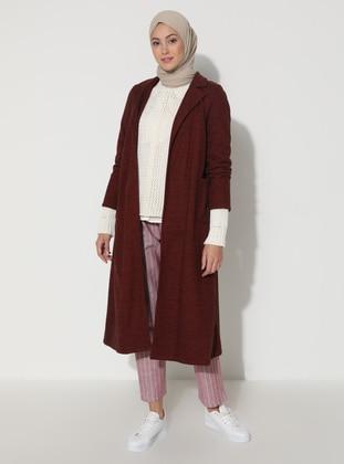 Maroon - Unlined - V neck Collar - Viscose - Topcoat