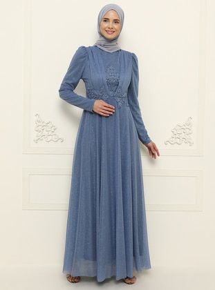 Indigo - Unlined - Crew neck - Muslim Evening Dress - MEKSİLA