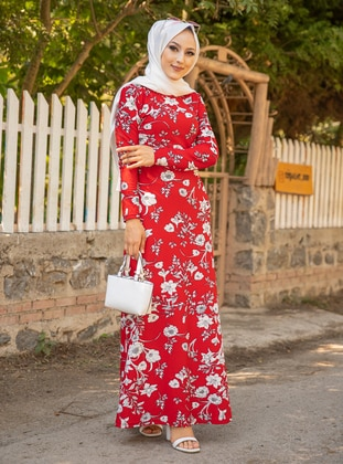 Red - Multi - Crew neck - Unlined - Crepe - Modest Dress