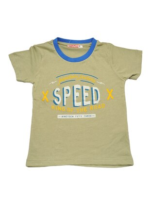 Multi - Crew neck -  - Unlined - Green - Boys` T-Shirt