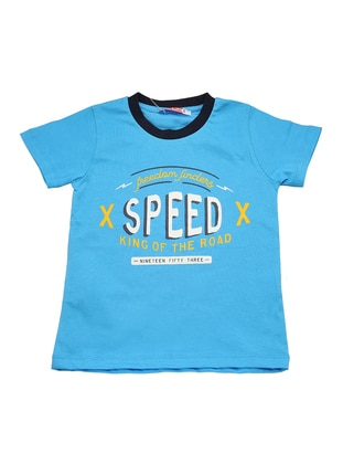 Multi - Crew neck -  - Unlined - Blue - Boys` T-Shirt