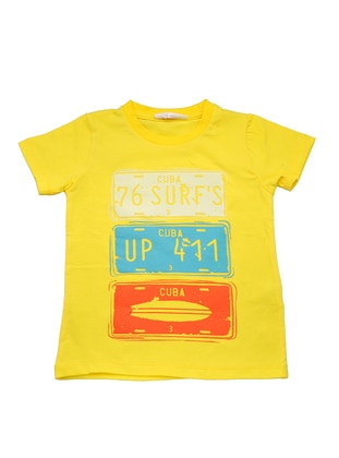 Multi - Crew neck -  - Unlined - Yellow - Boys` T-Shirt