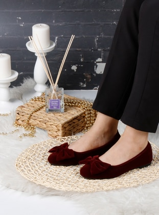 Flat - Maroon - Home Shoes