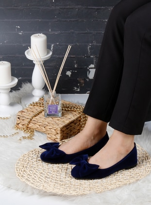 Flat - Navy Blue - Home Shoes