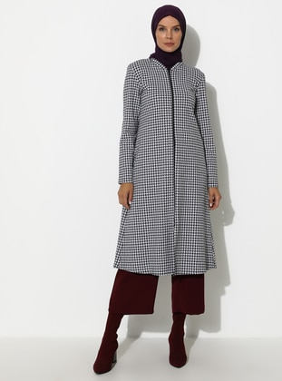 White - Black - Houndstooth - Unlined - Topcoat