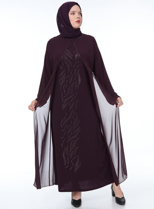 Plum - Unlined - Crew neck - Chiffon - Muslim Plus Size Evening Dress