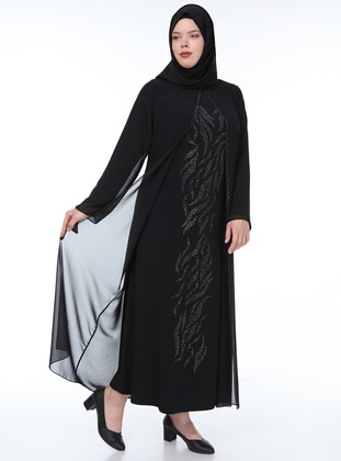 Black - Unlined - Crew neck - Chiffon - Muslim Plus Size Evening Dress
