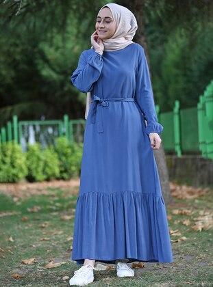 Indigo - Crew neck - Unlined - Viscose - Dress